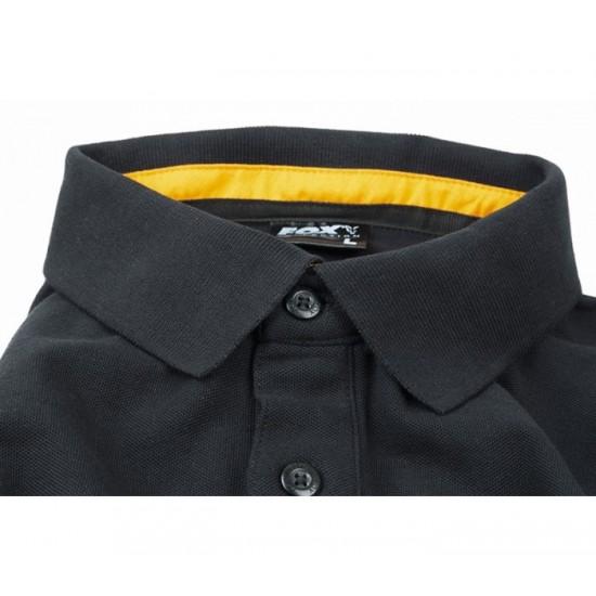 Тениска с яка Fox Collection Black & Orange Polo Shirt